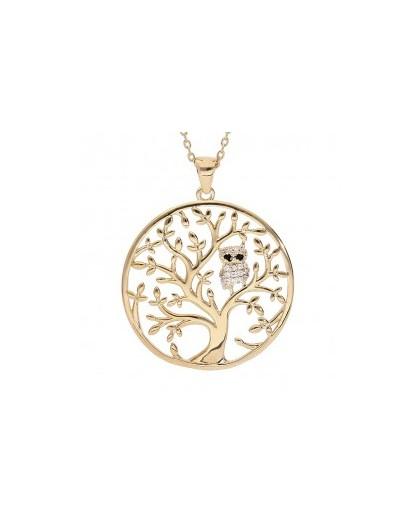 Collier plaqué Or motif arbre de vie et chouette