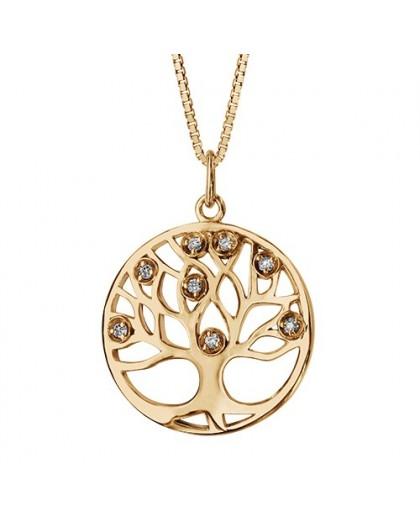 Collier plaqué Or motif arbre de vie oxydes