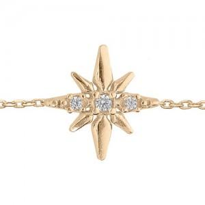Bracelet plaqué or étoile du nord oxydes