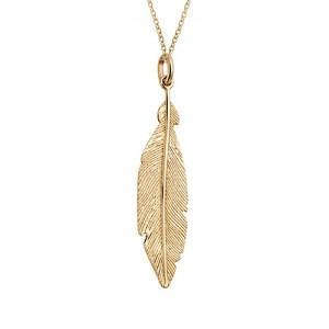 Collier plaqué Or motif plume pendante