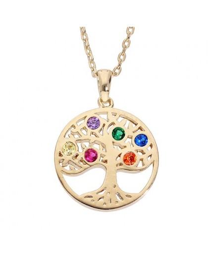 Collier plaqué Or motif arbre de vie strass coloré