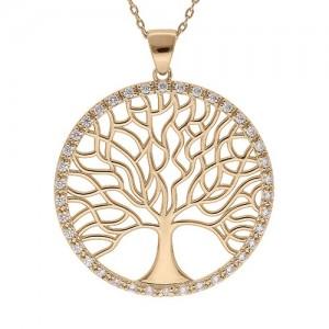 Collier plaqué Or motif arbre de vie grand motif
