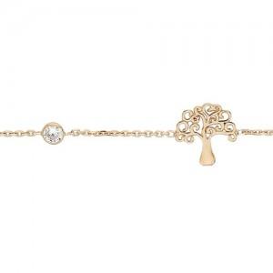 Bracelet plaqué or arbre de vie strass