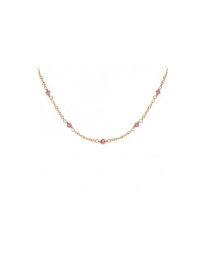 Collier plaqué Or oxydes roses
