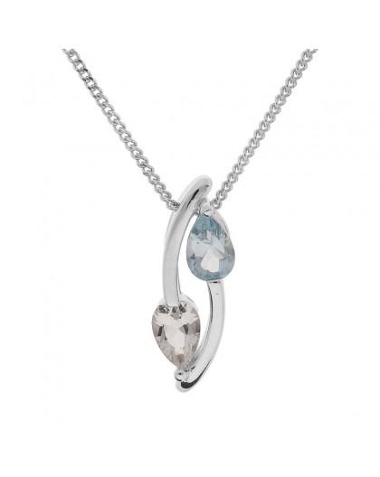 Collier argent double motif topaze bleue blanche