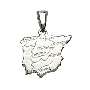 Pendentif argent carte Espagne et villes