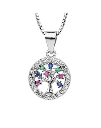 Collier argent arbre de vie et pierres multicolore