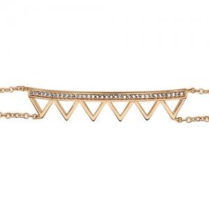 Bracelet plaqué or triangles oxydes double chaine