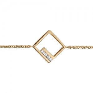 Bracelet plaqué or motif carré oxydes