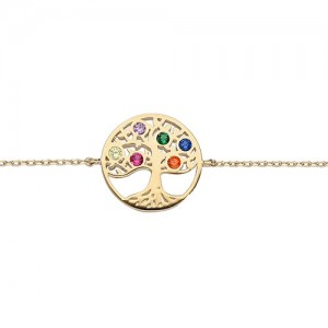 Bracelet plaqué or arbre de vie strass couleurs