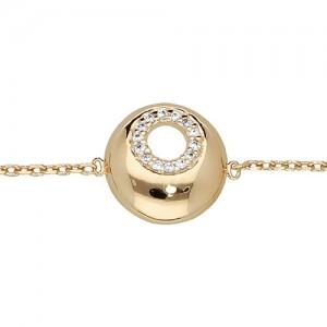 Bracelet plaqué or motif boule plate oxydes