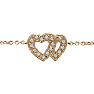 Bracelet plaqué or double coeurs oxydes