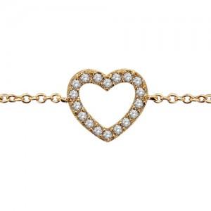 Bracelet plaqué or motif coeur oxydes