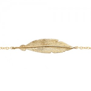 Bracelet plaqué or motif plume