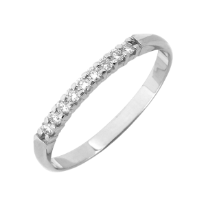 Alliance Or gris et diamants 1/2 tour 0,15 Ct griffes