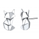 Boucles d'oreilles argent Renard graphique