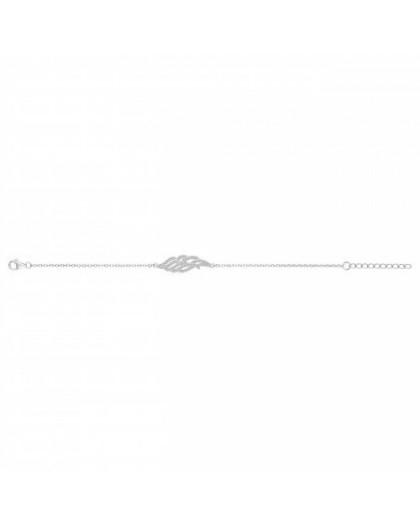 Bracelet argent rhodié et zirconiums motif aile