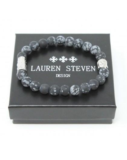 Bracelet Lauren Steven Obsidienne Flocon Taille M