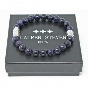 Bracelet Lauren Steven Pierre sable bleu taille L