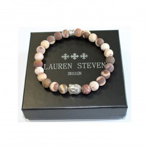 Bracelet Lauren Steven Pierre zebrée café taille M