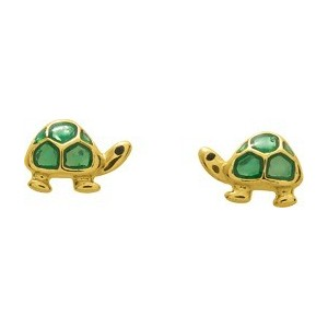 Boucles d'oreilles Or fermoir vis Tortues laque