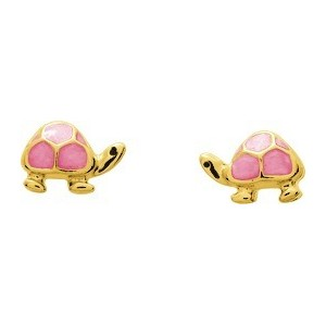 Boucles d'oreilles Or fermoir vis Tortues laque rose