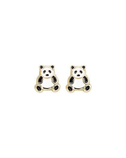 Boucles d'oreilles Or fermoir vis Panda laque