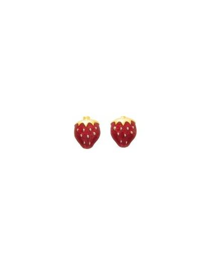 Boucles d'oreilles Or fermoir vis motif Fraise laque