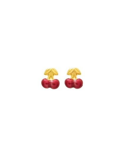 Boucles d'oreilles Or fermoir vis motif Cerises laque
