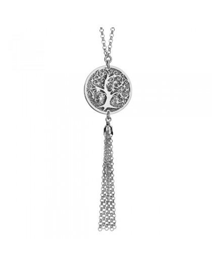 Collier argent Arbre de vie givré et chaines pendantes