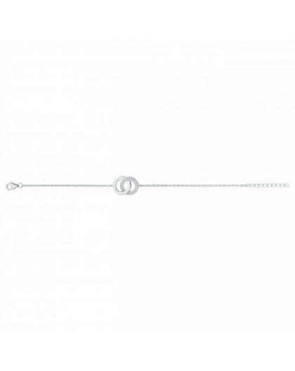 Bracelet argent rhodié et zirconiums double cercle