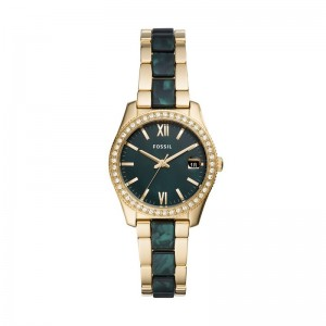 Montre Fossil femme ES4676 Scarlette gold vert