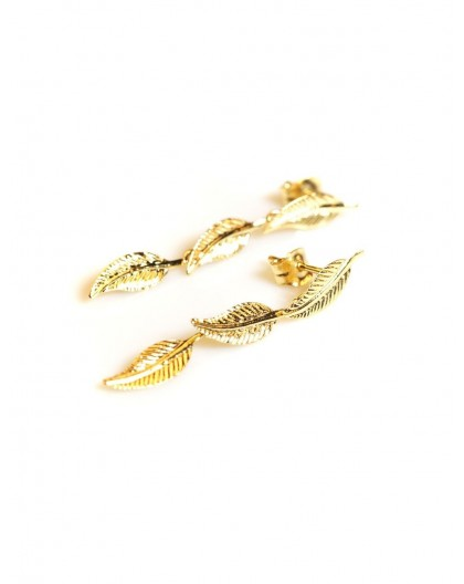 Boucles d'oreilles Or triple plumes pendantes