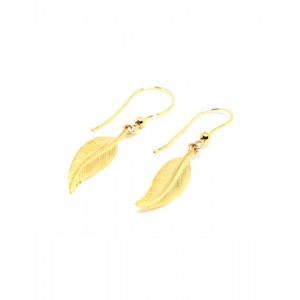 Boucles d'oreilles Or Plume simple pendante
