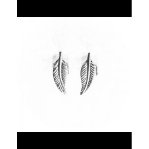 Boucles d'oreilles Or gris Plume simple
