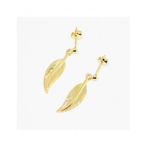 Boucles d'oreilles Or Plume simple pendante mobile