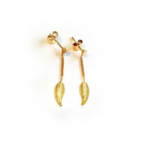 Boucles d'oreilles Or Plume simple sur chaine