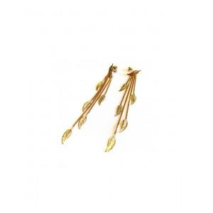Boucles d'oreilles Or multi plumes sur chaines