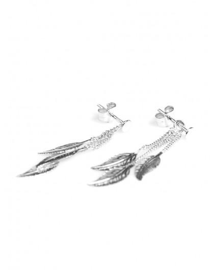 Boucles d'oreilles Or gris triple plumes chaines