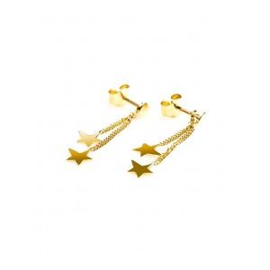 Boucles d'oreilles Or double étoiles sur chaines