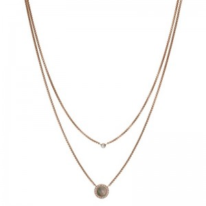 Collier Fossil femme JF02953791 double rang rosé