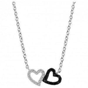 Collier argent oxyde Zirconium coeur noir et blanc