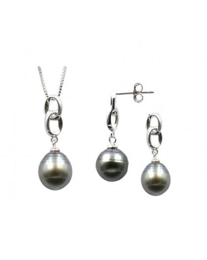 Parure Collier Boucles Perles de Tahiti argent