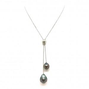 Collier argent double Perles de Tahiti coulissant
