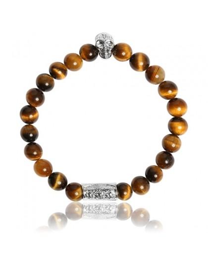 Bracelet Pierres Naturelles Oeil de Tigre et motif crane