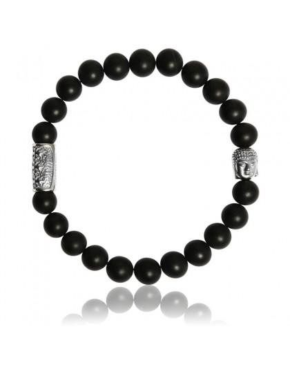 Bracelet Pierres Naturelles Onyx et motif buddha