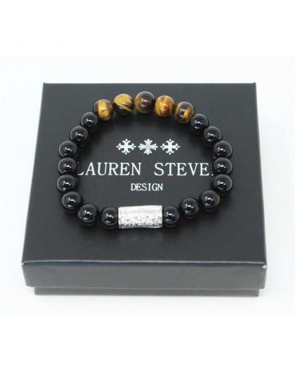 Bracelet Lauren Steven Agate noire Oeil de tigre