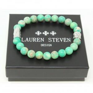 Bracelet Lauren Steven Jaspe de mer vert taille L