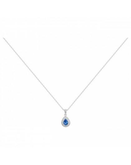 Collier argent oxyde Zirconium bleu goutte