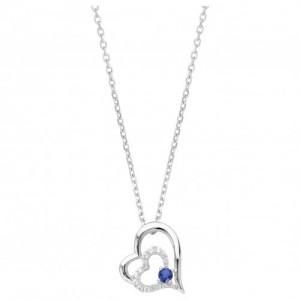 Collier argent oxyde Zirconium bleu coeur double
